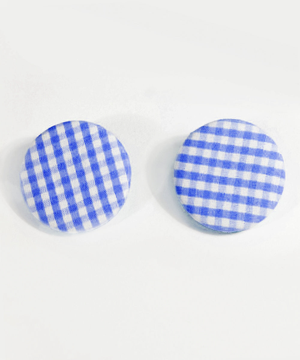 Navy Blue & White Gingham Round Picnic Earrings
