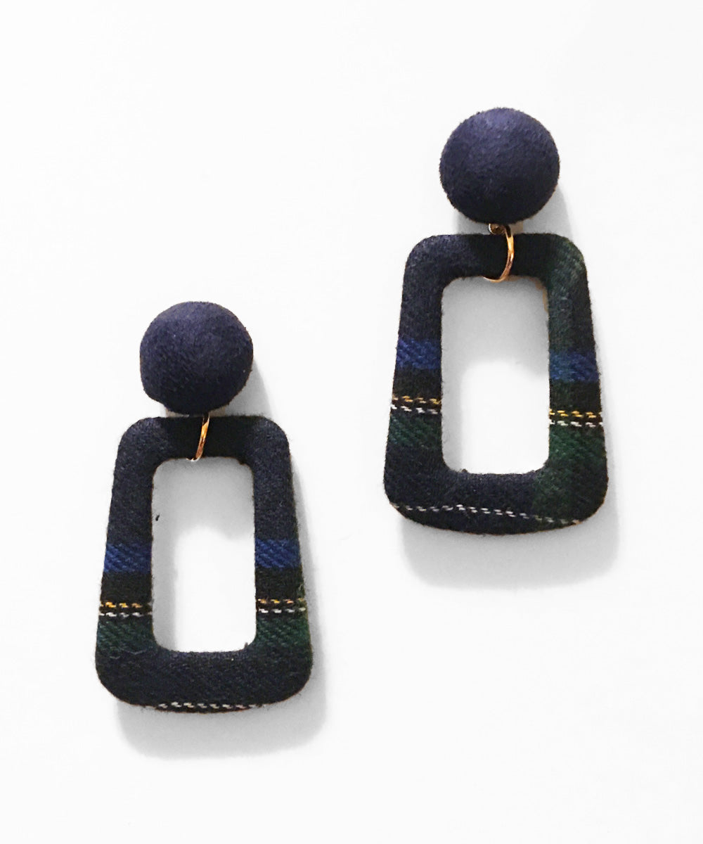 Navy Blue Plaid Fabric Autumnal Dangle Earrings