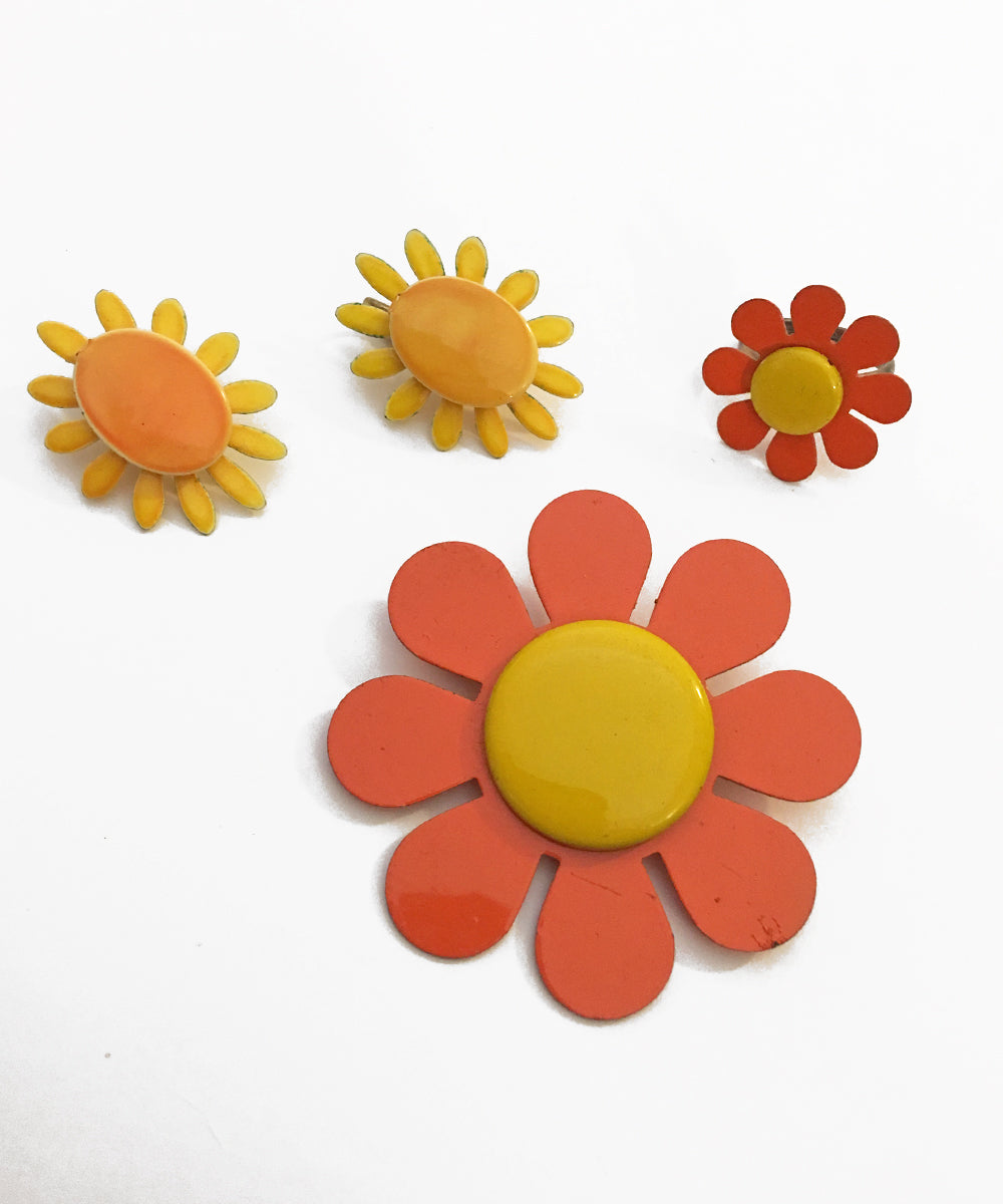 Orange & Yellow 1970s Funky Floral Enamel Jewelry Set