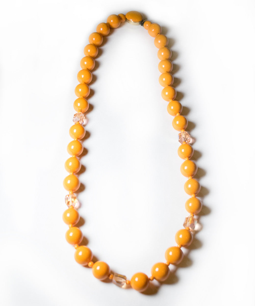 Orange Round Beads & Rhinestone Vintage Necklace