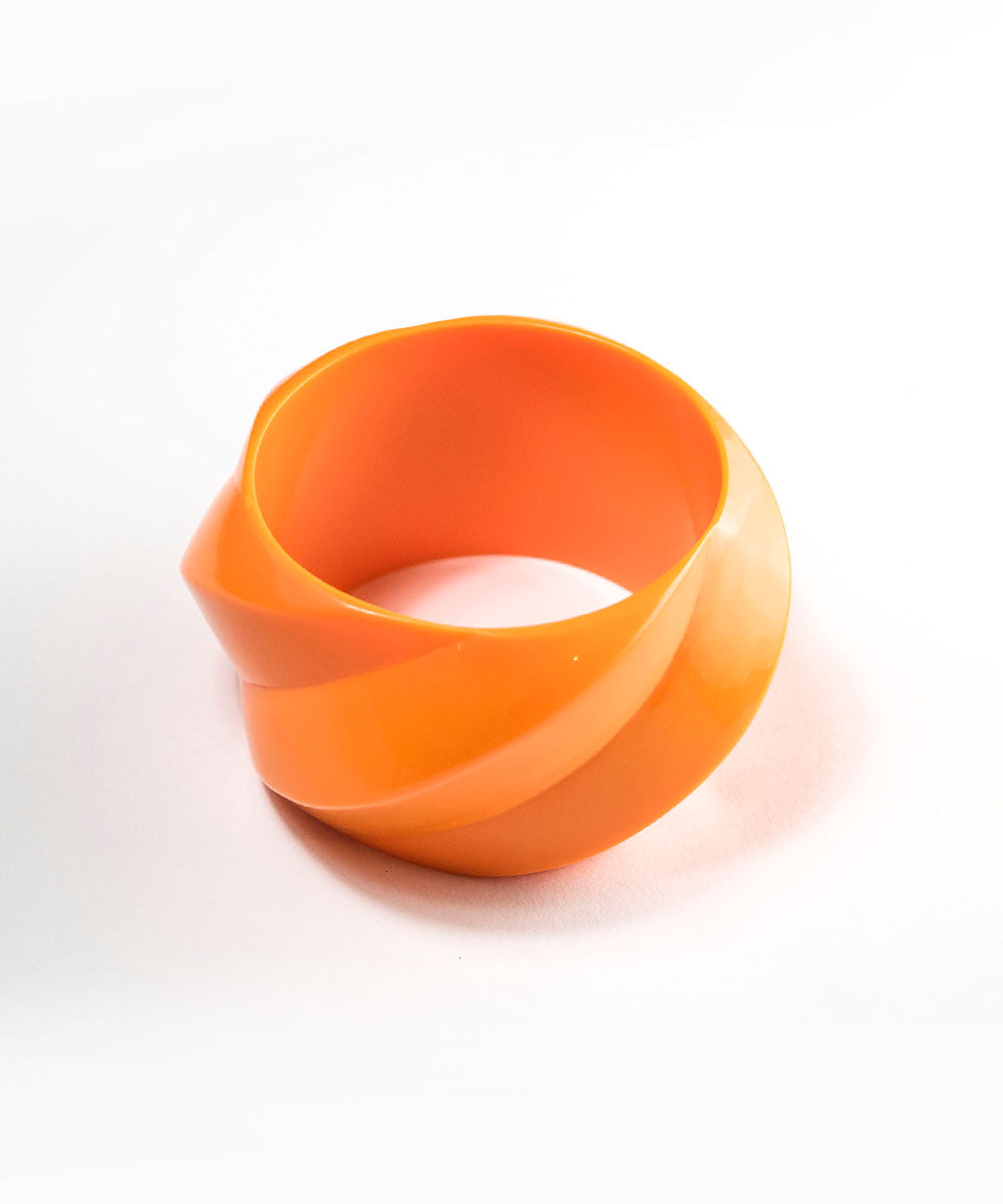 Tangerine Orange Oversized Chunky Carved Retro Bangle