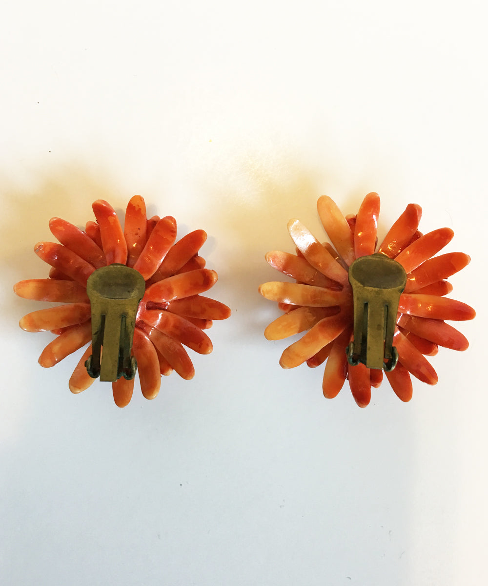 Authentic Vintage Plastic Orange Mum Clip Ons With Rhinestone Center