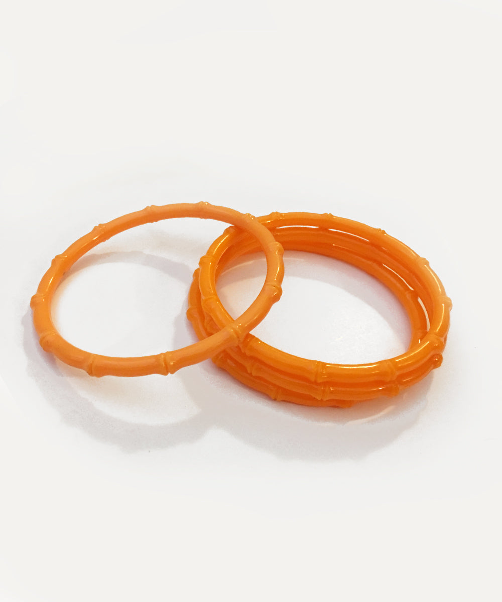 Thin Plastic Orange Bamboo Bangle Set