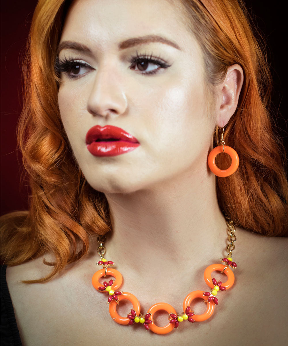 Orange Enamel & Floral Jewel Necklace & Earring Set