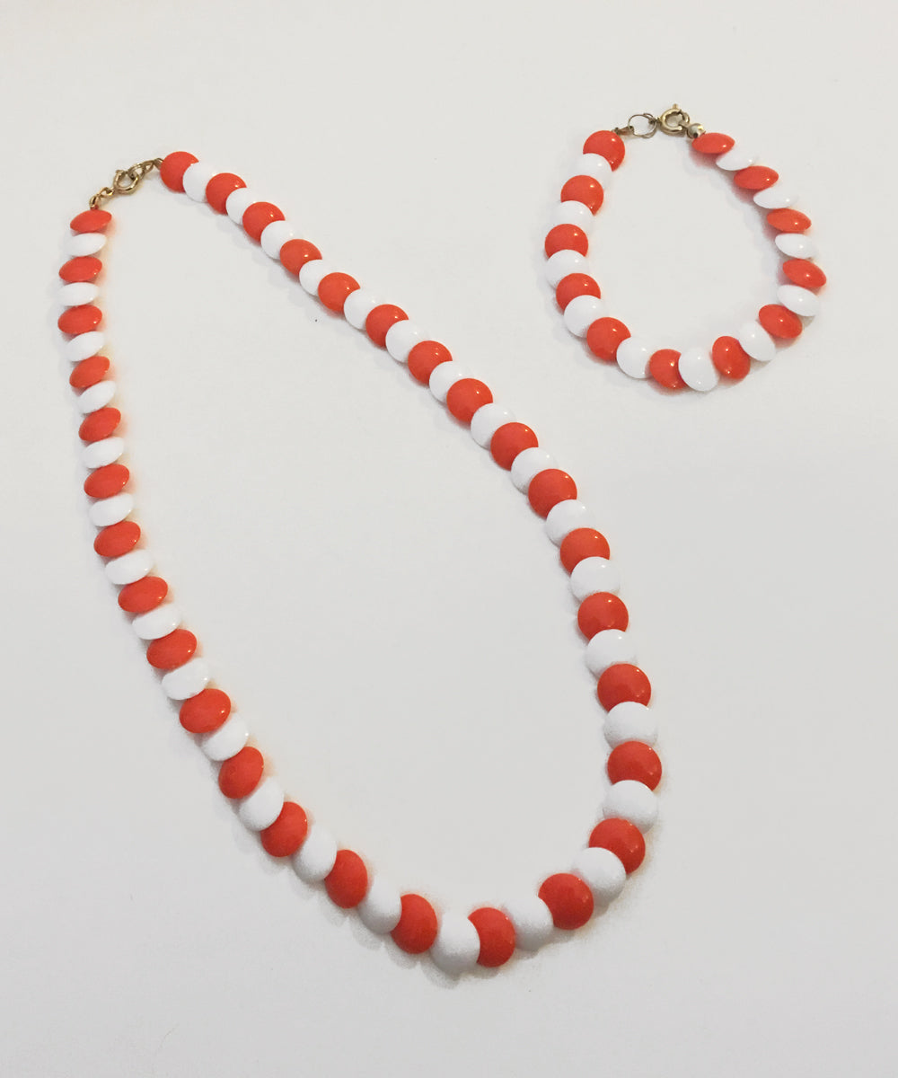 Vintage Orange & White 1970s Matching Necklace & Bracelet