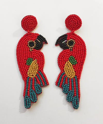 Huge Beaded Tropical Colorful Parrot Earrings