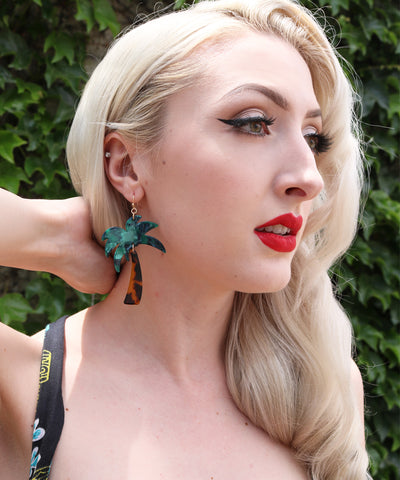 Lightweight Retro Palm Tree Lucite Dangle Earrings