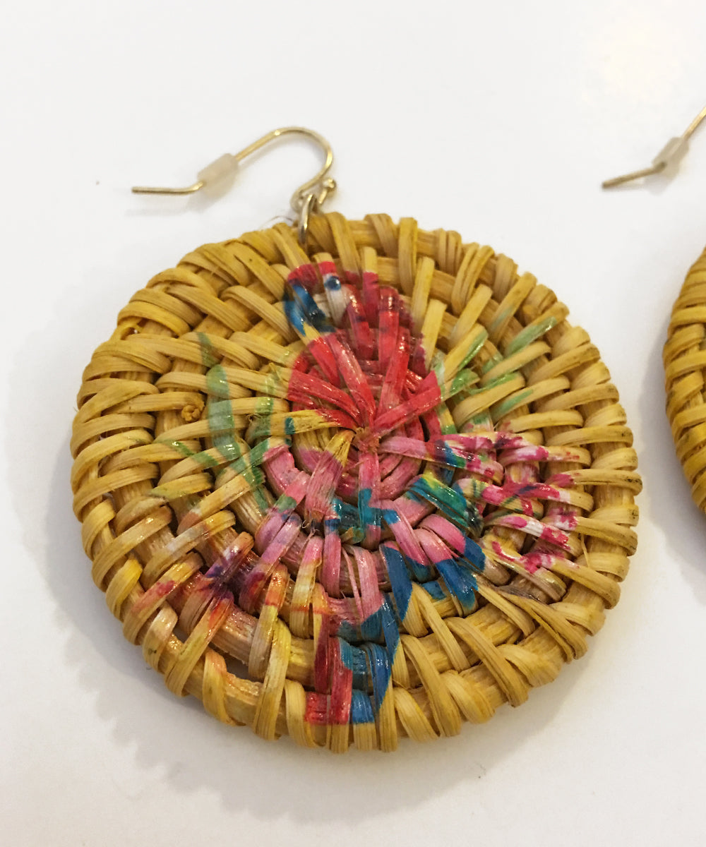 Woven & Painted Parrot Tiki Round Earrings
