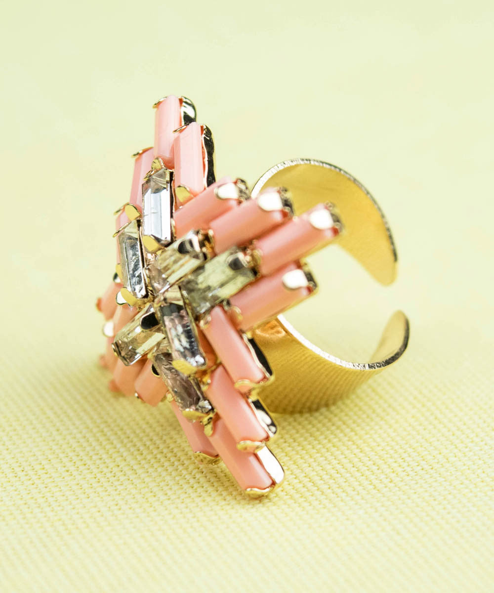 Peach Beaded Art Deco Adjustable Ring
