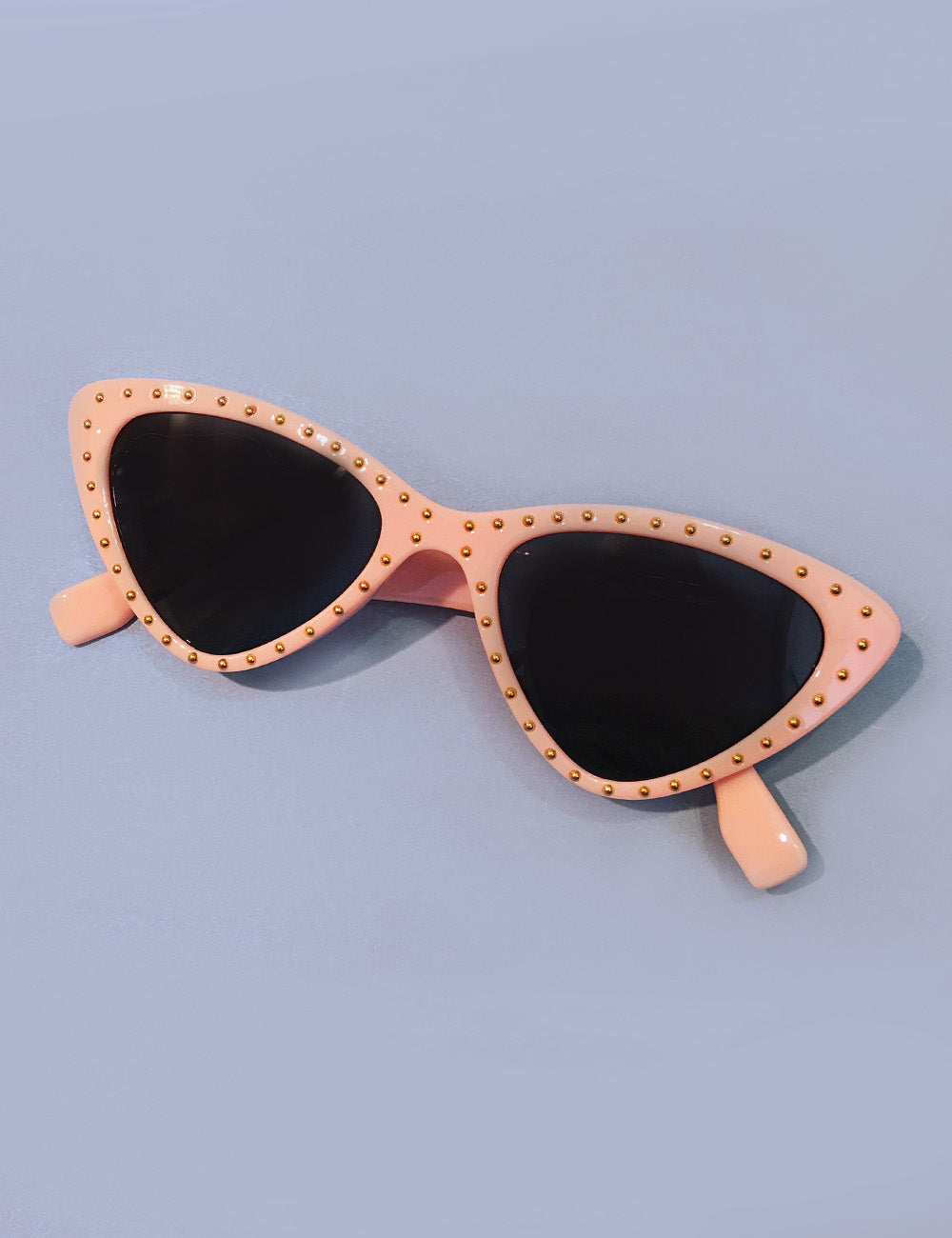 Peach Pink & Gold Studded Retro Classic Cat Eye Sunglasses