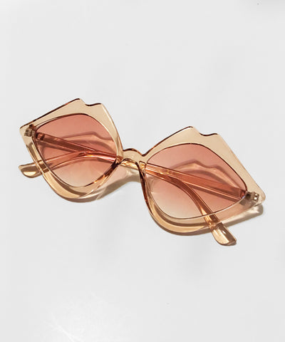 Translucent Peachy Pink Kiss Kiss Retro Sunglasses