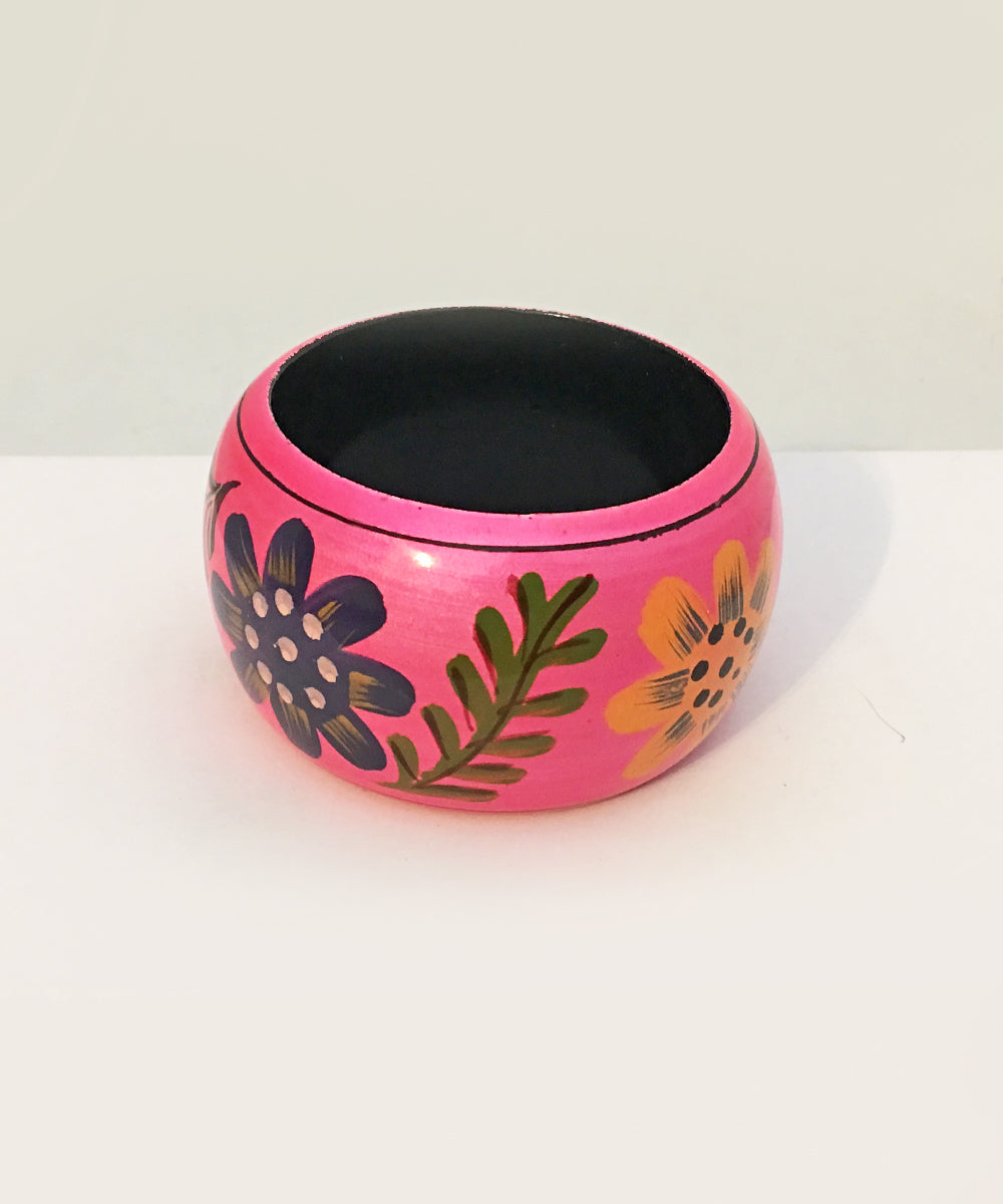 Pink & Colorful Shimmering Hand Painted Floral Tiki Wooden Bangle