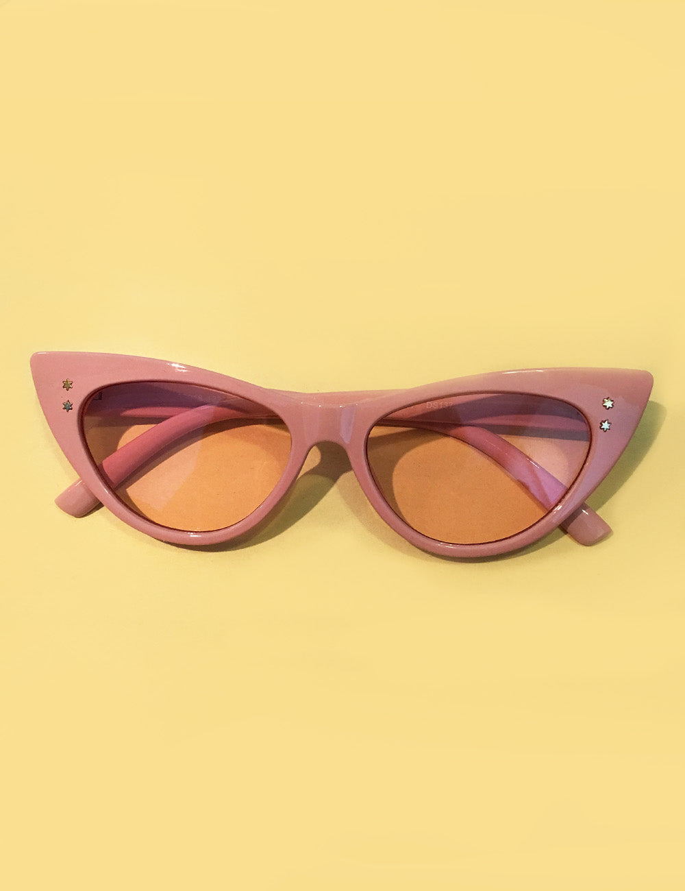 Baby Pink on Pink Retro Star Studded Cat Eye Sunglasses