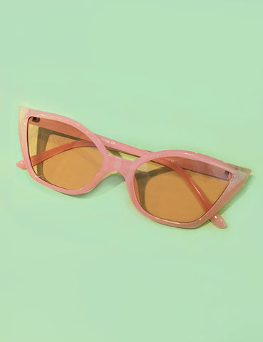 Unique Translucent Pink Retro Cat Eye Sunglasses