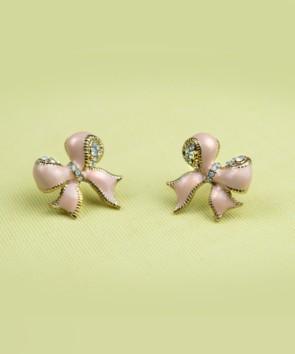 Light Pink & Rhinestone Sweet Bow Earrings