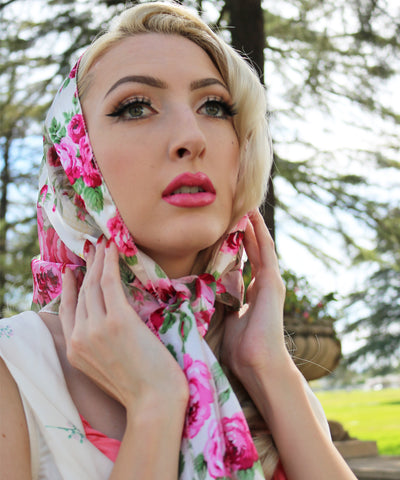 Long Ivory & Pink Rose Satin Scarf
