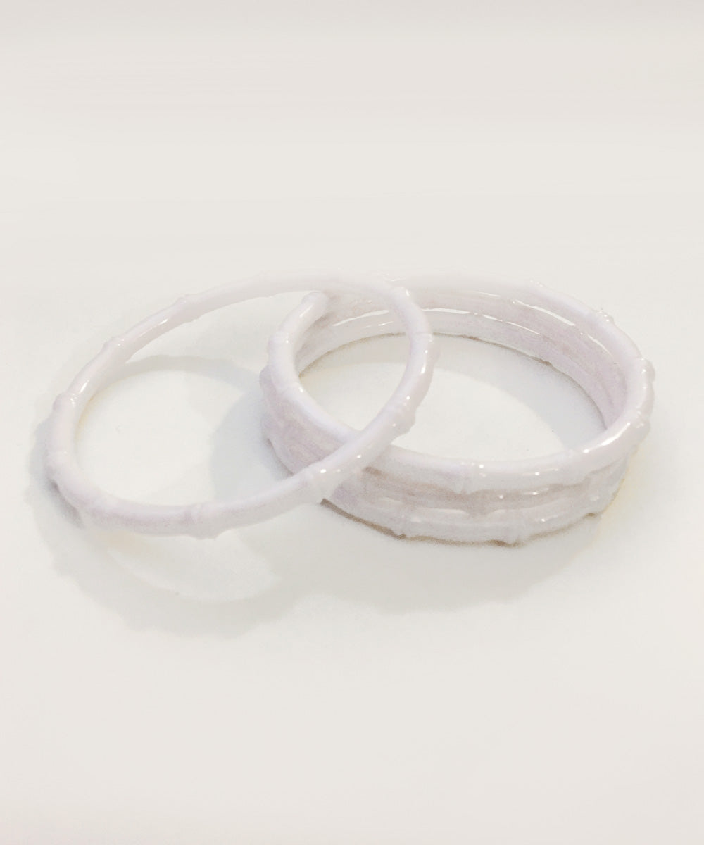 Thin Plastic White Bamboo Bangle Set