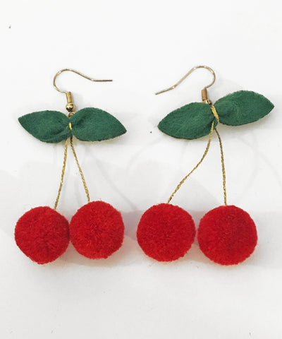 1950s Inspired Cherry Pom Pom Dangle Earrings