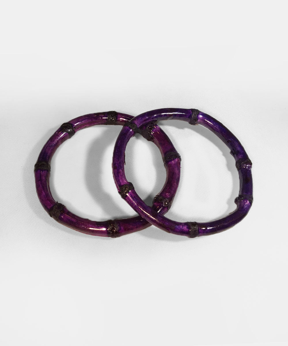 Purple Bamboo Round Bangle Set