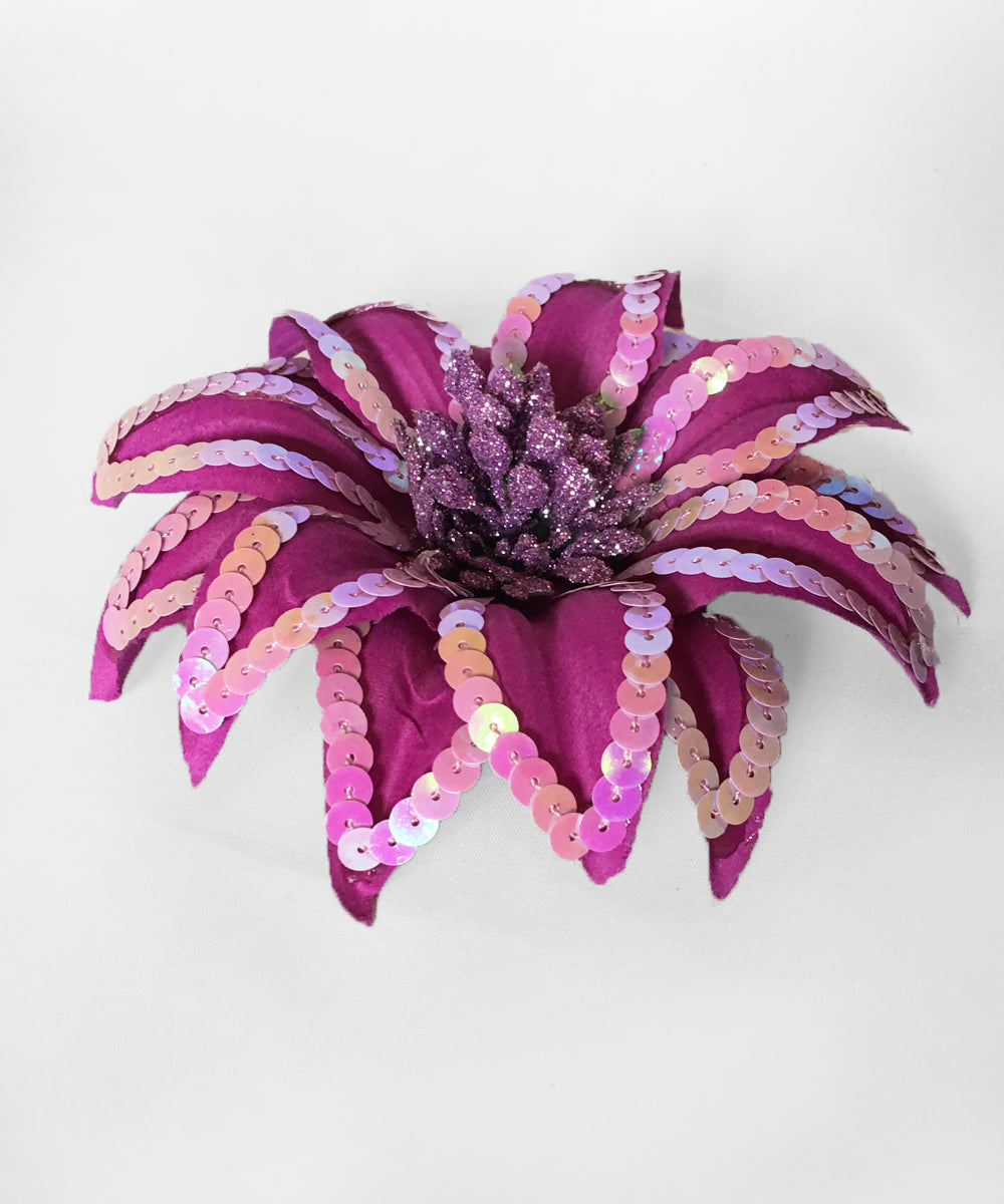 Bright Purple Sequin & Glitter Hair Flower & Pin