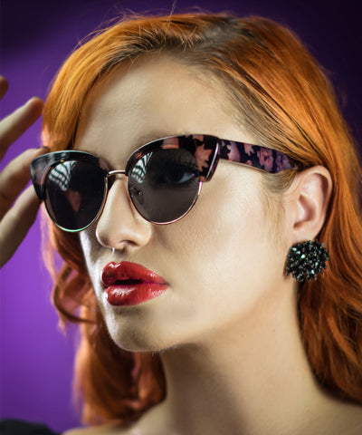 Purple & Black Marbled Retro Sunglasses