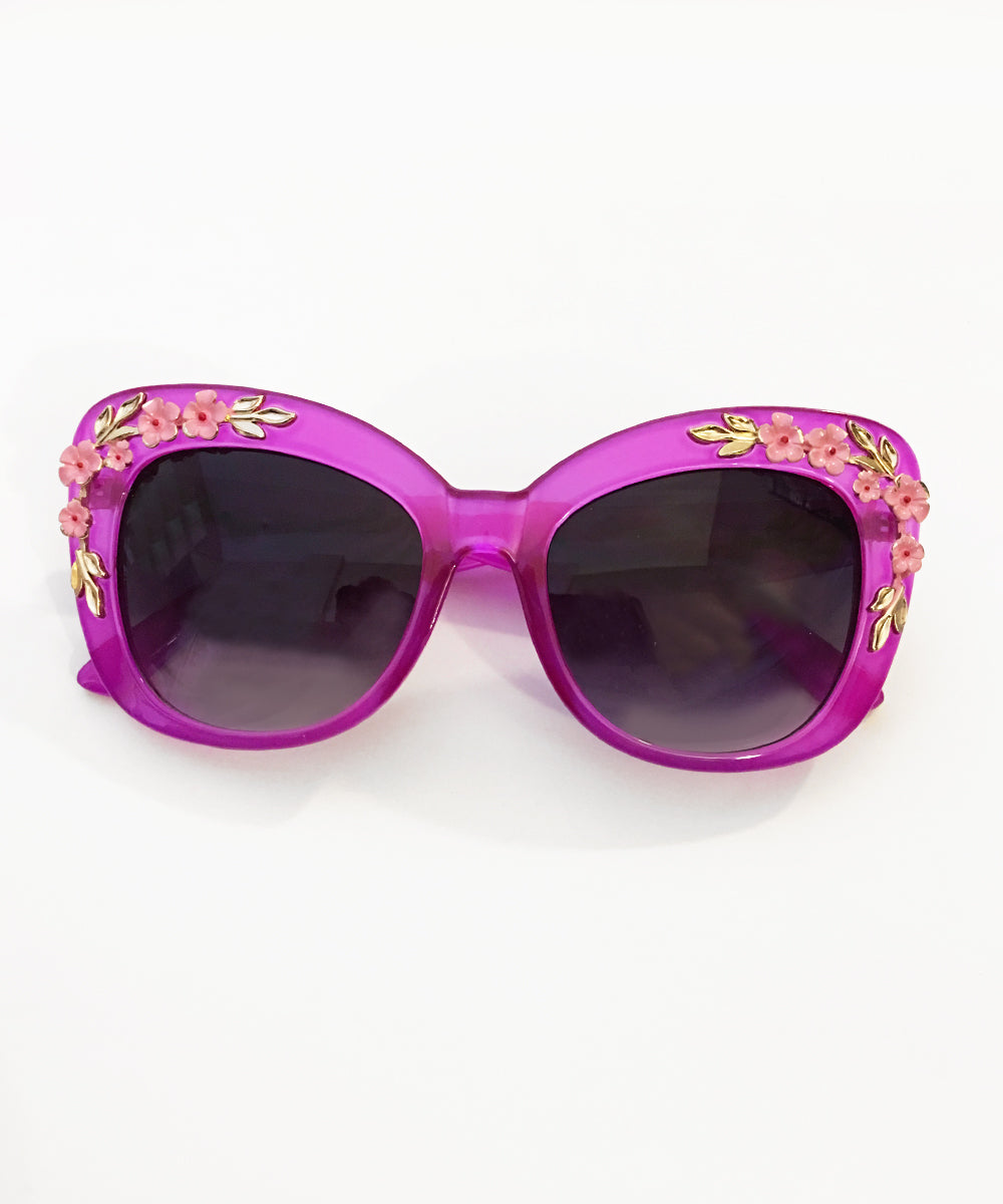 Translucent Purple 3D Floral Retro Inspired Oversized Sunglasses