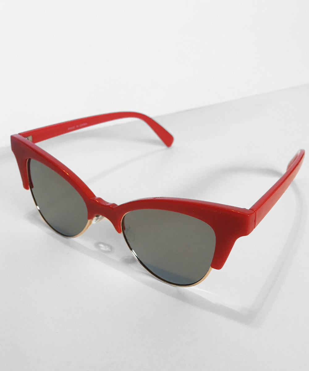 1950s Inspired Red Betty Cat Eye Horn Rimmed Retro Sunglasses