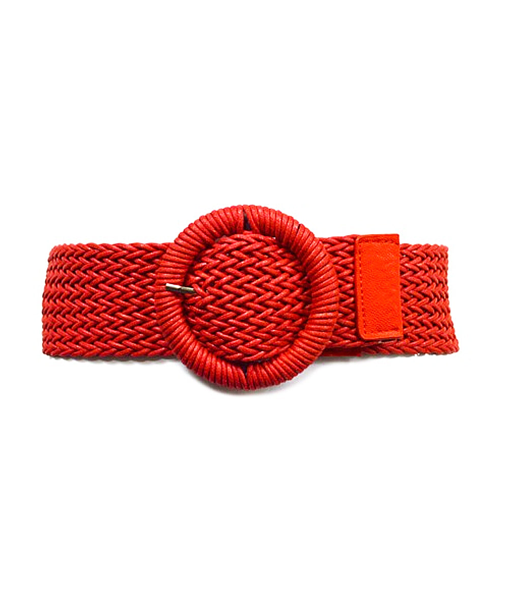 1950s Inspired Woven Faux Leather Stretch Belt