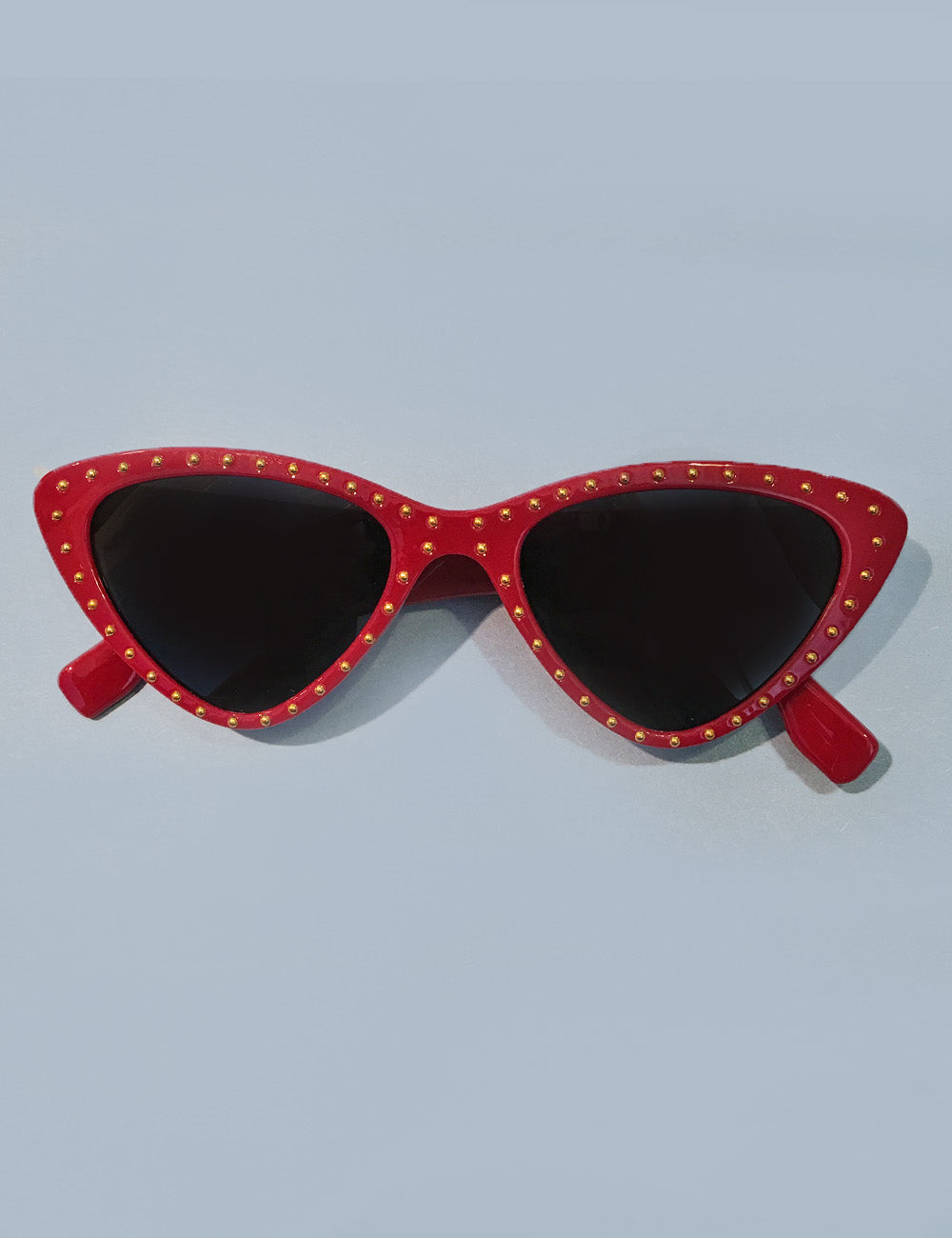 Red & Gold Studded Retro Classic Cat Eye Sunglasses