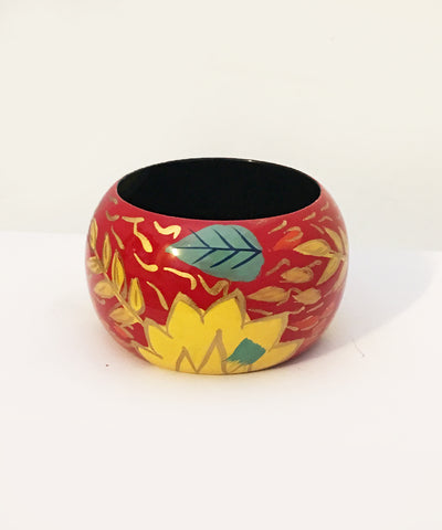 1940s Inspired Abstract Red Hawaiian Hand Painted Wooden Bangle