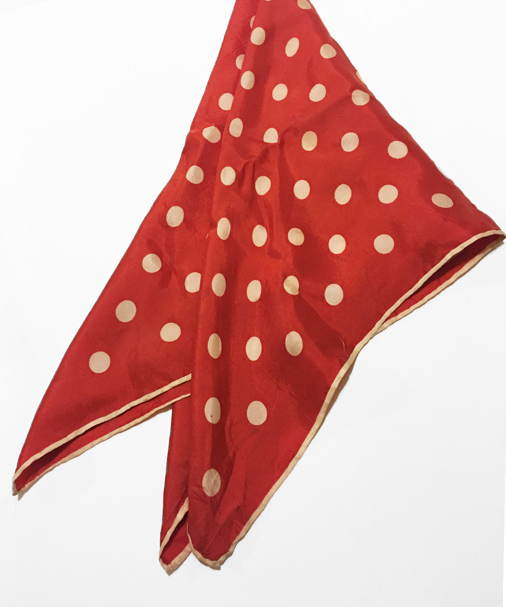 Vintage Red & Ivory Polka Dot Silk Square Scarf