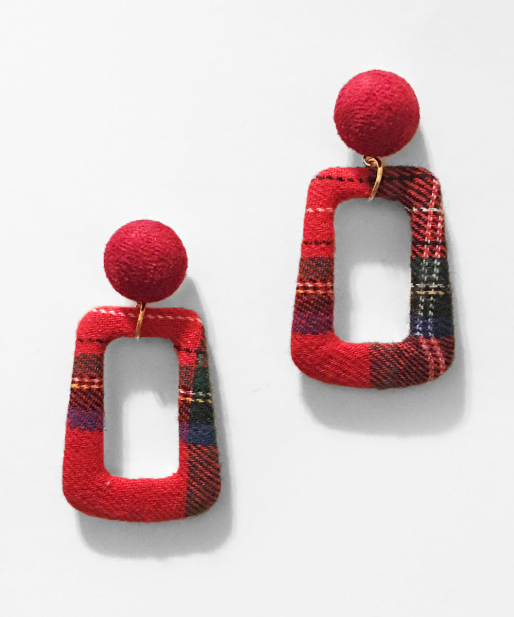 Retro Style Red Plaid Fabric Autumn Dangle Earrings
