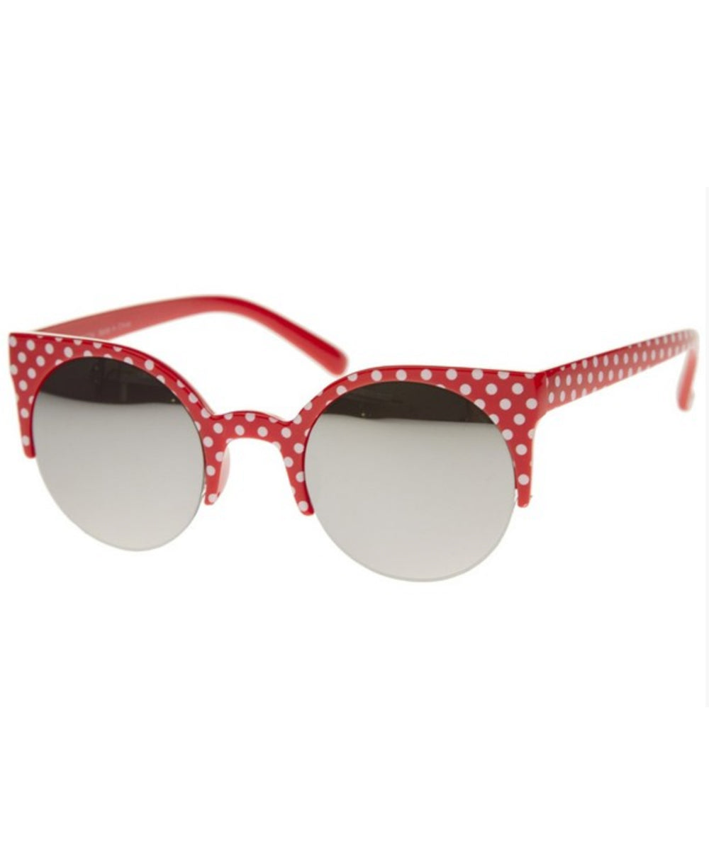 Red & White Polka Dot Reflective Retro Sunglasses