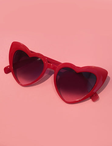 Cherry Red Heart Shaped Retro Sunglasses