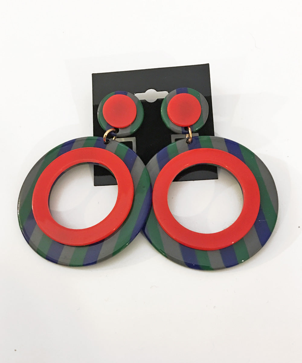 Primary Colors Retro Mod Striped Hoop Earrings