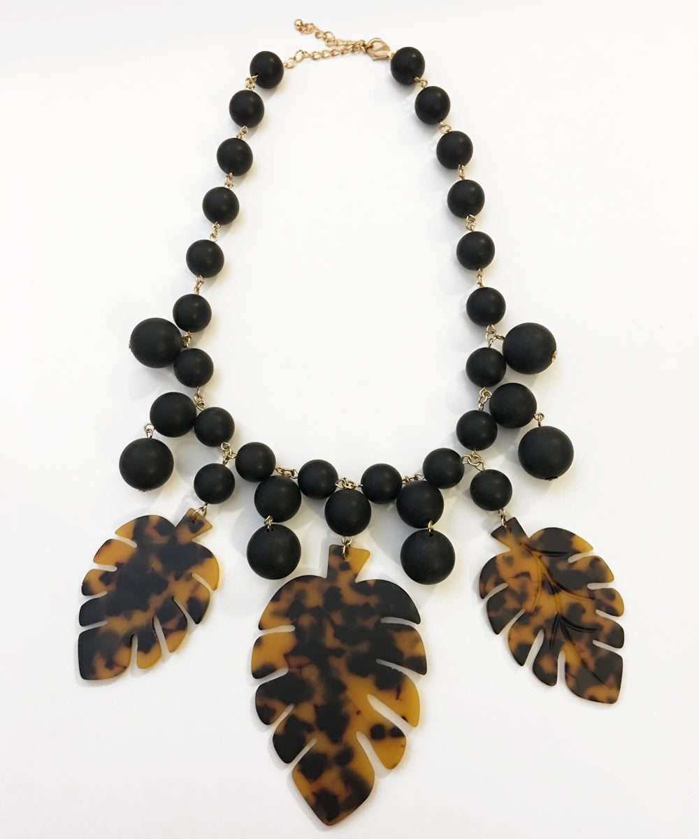 Oversized Black Bead & Tortoise Resin Tropical Leaf Necklace