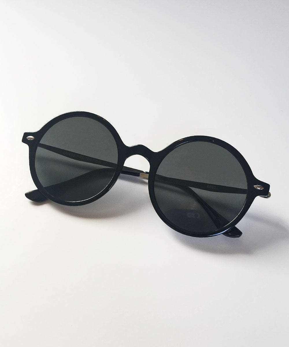 Black & Silver Thin Framed Round Lightweight Sunnies