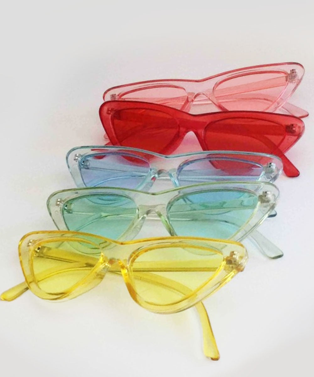 SALE - Imperfect Retro Translucent Colorful Cat Eye Sunglasses