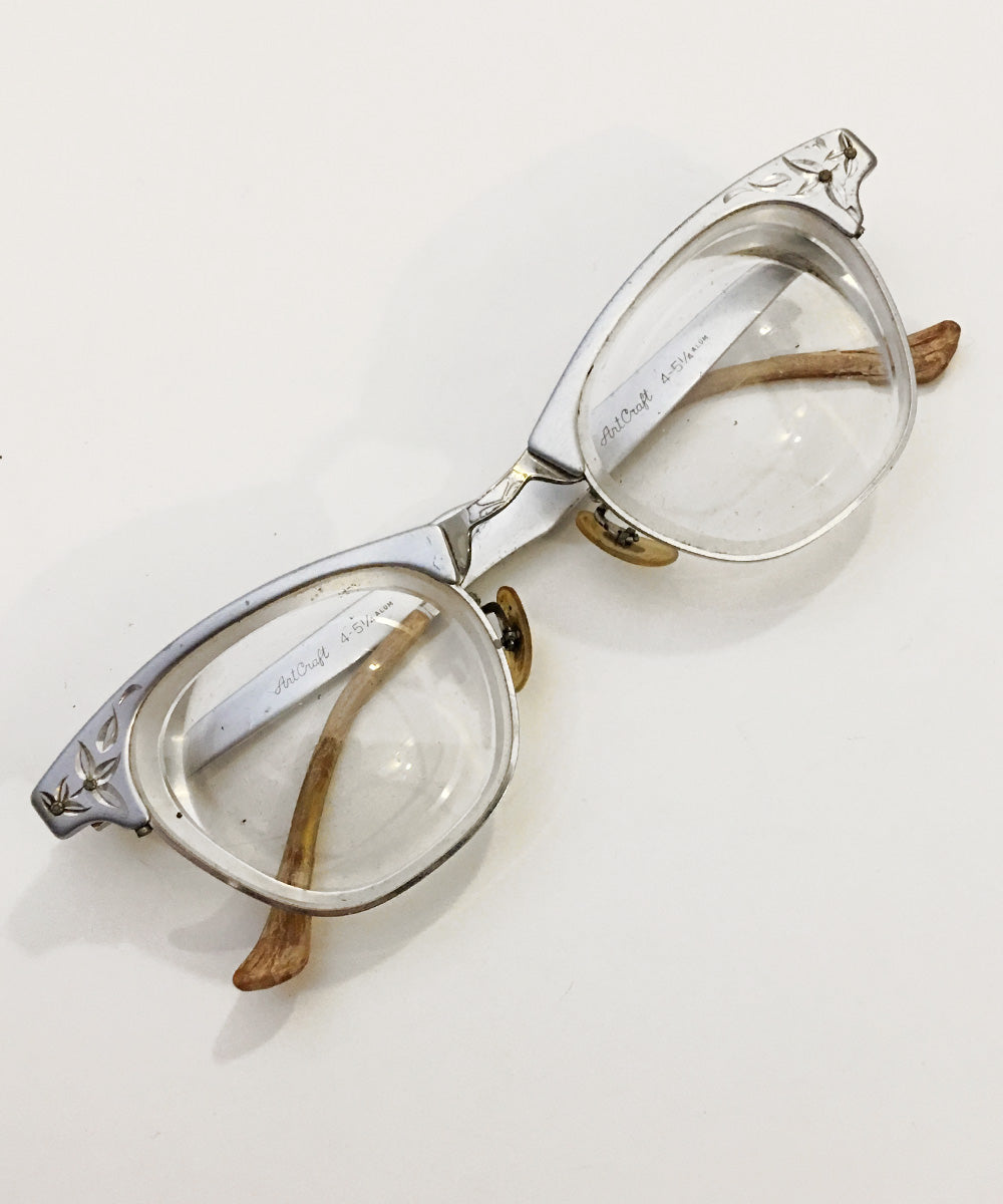Vintage Art Craft Silver Aluminum Engraved Cat Eye Glasses