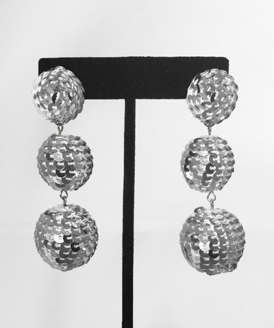 Silver Sequin Disco Ball Dangle Earrings