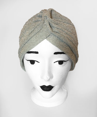Vintage Inspired Silver Glitter Fitted Stretchy Turban