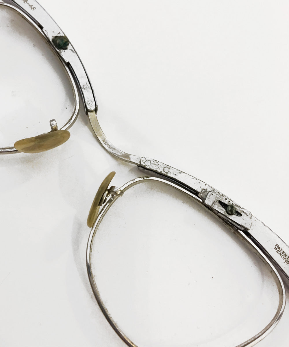 Vintage Silver Aluminum Shuron Unique Cat Eye Glasses