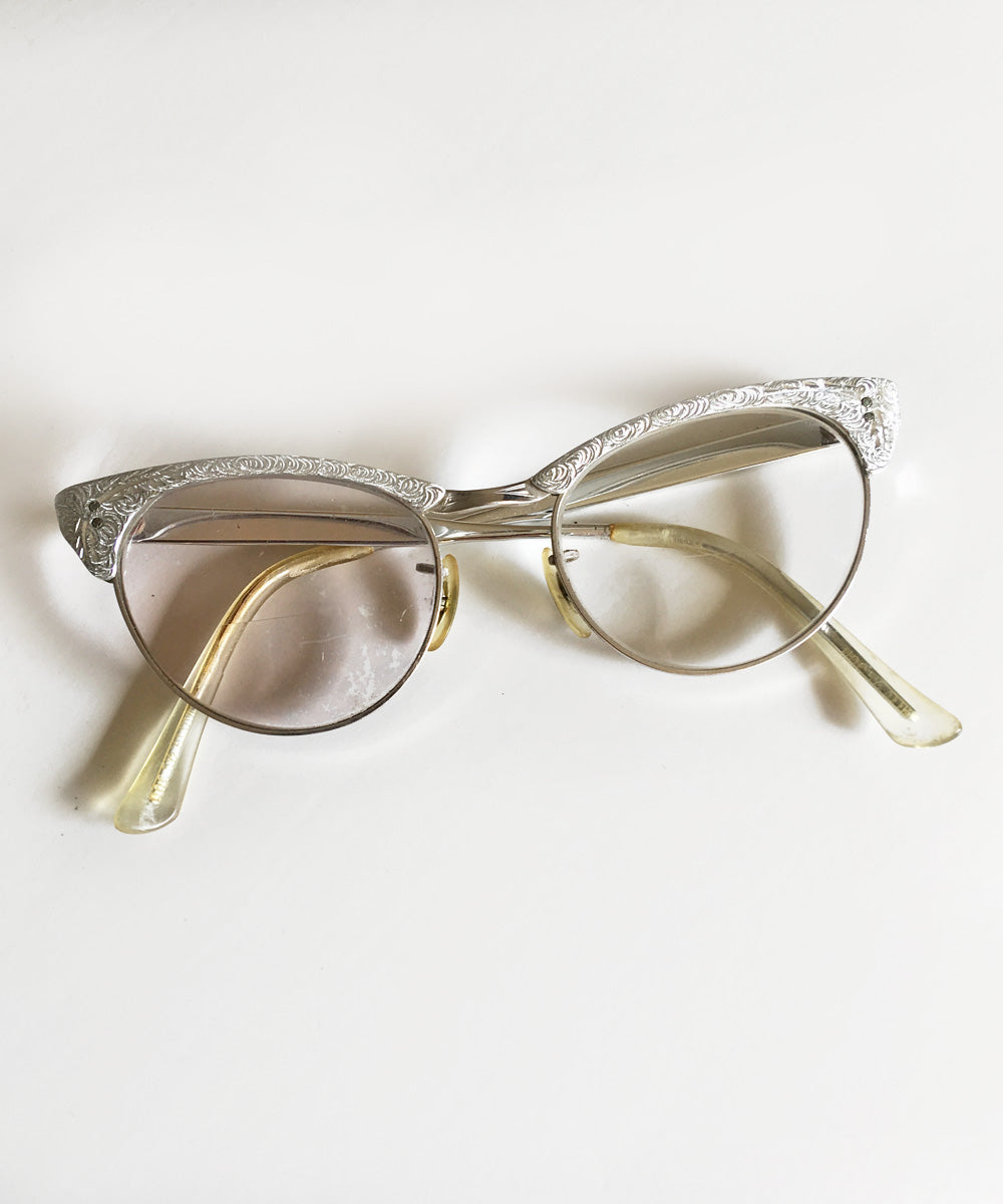 Silver Embossed Aluminum Vintage 1950s Cat Eye Glasses