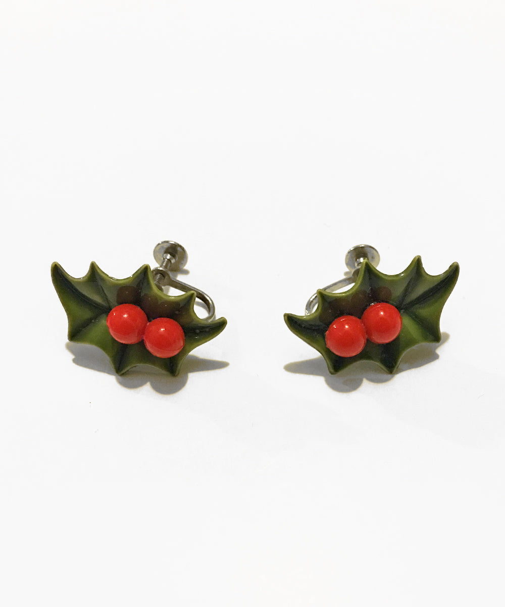 Vintage Christmas 1960s Green & Red Holly Leaf Clip On Earrings