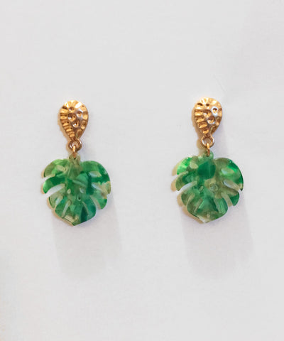 Green & Gold Retro Palm Leaf Tropical Resin Earrings