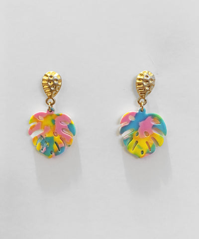 Gold & Colorful Palm Leaf Tropical Resin Earrings