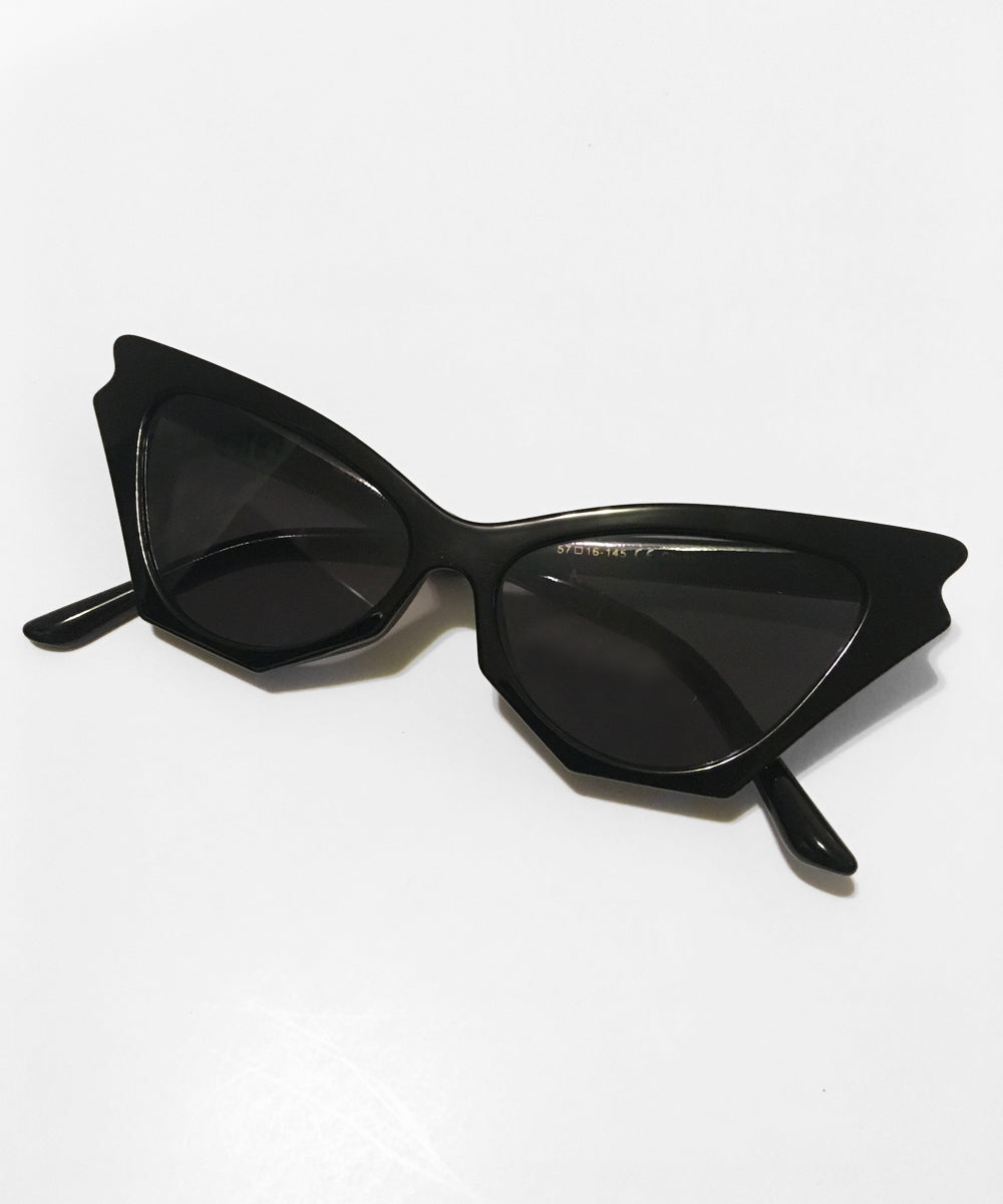 Midnight Black Batwing Retro Sunglasses
