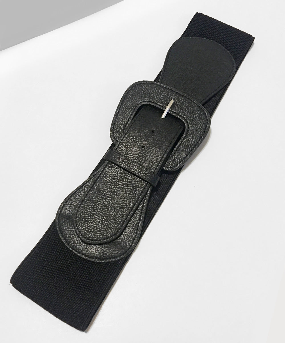 1950s Black Faux Leather Thick Stretch Belt