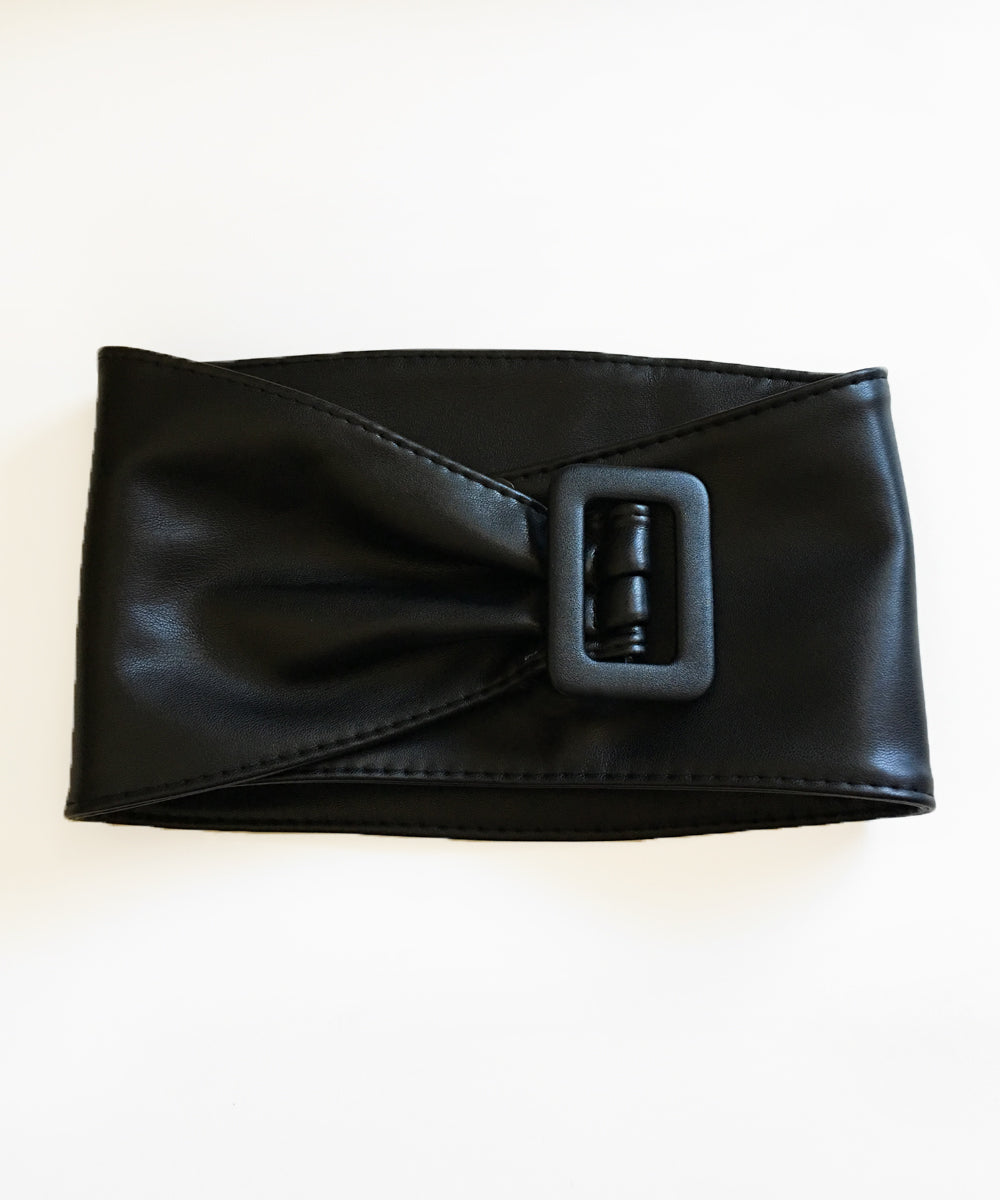 Extra Wide Faux Leather Solid Black Pinup Belt