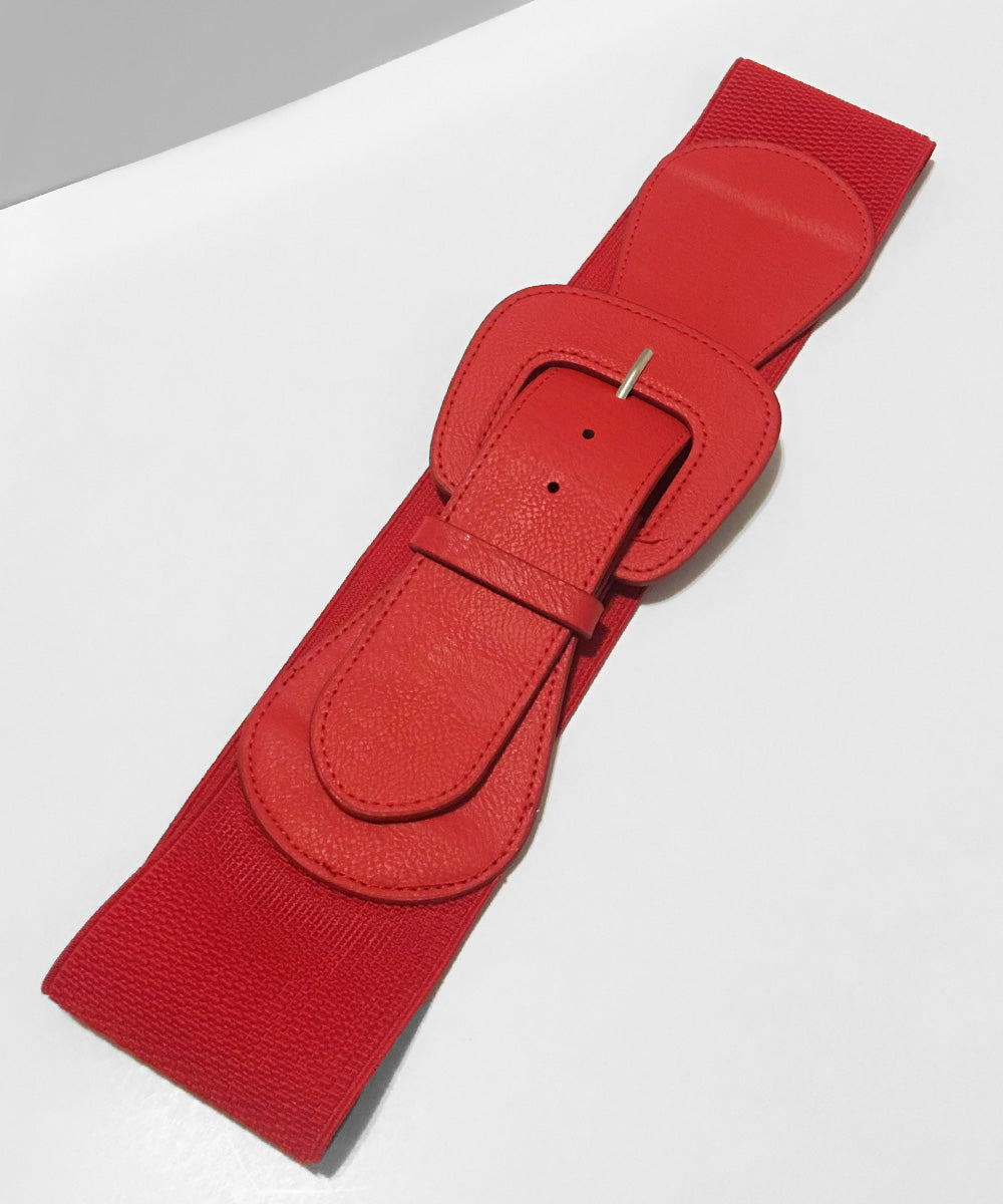 1950s Cherry Red Faux Leather Thick Stretch Belt